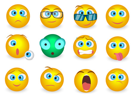confused man: Set of Emoji face emotion icons isolated. Vector illustration