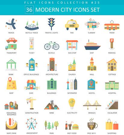 Vector Modern City color flat icon set. Elegant style design