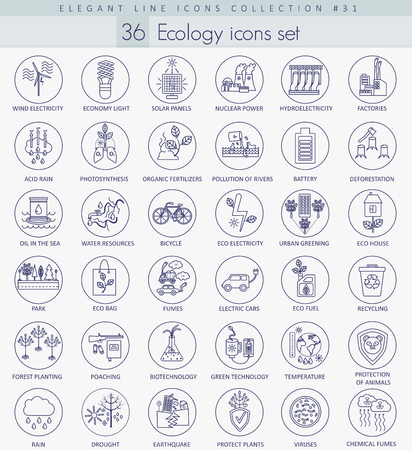 antipollution: Vector Ecology outline icon set. Elegant thin line style design