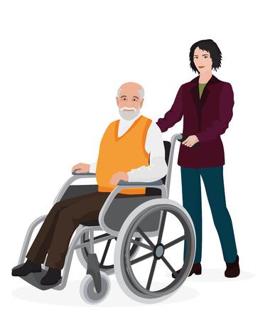 Młoda kobieta wolontariuszy opiekuńczy stare niepełnosprawny mężczyzna na wózku inwalidzkim Ilustracje wektorowe