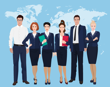 to stand: Business team formed of young businessmen standing over on world map background. Illustration