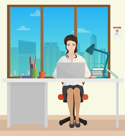 woman laptop: Woman Secretary in office interior. Businesswoman person working on laptop