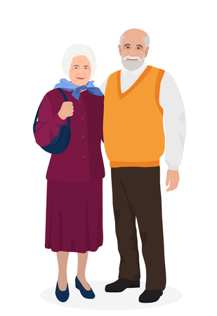 Happy grandfather and grandmother standing together. Old people in family