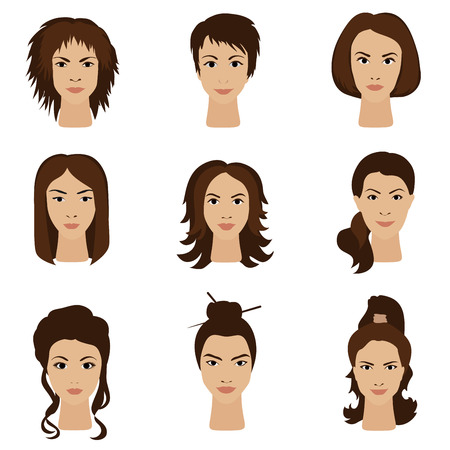 hair style set: Young woman girls with various different hair style set