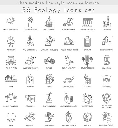 ultra modern: Vector Ecology ultra modern outline line icons for web and apps