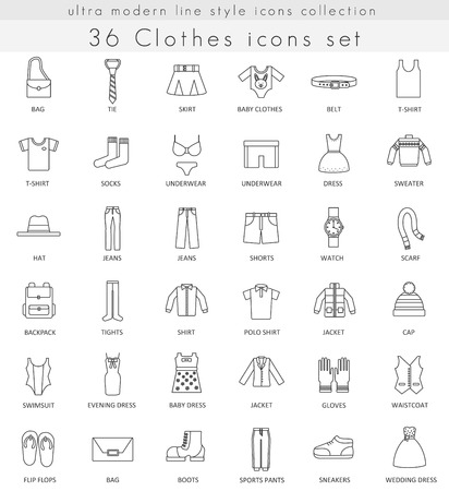 ultra modern: Vector Clothes and footwear ultra modern outline line icons for web and apps