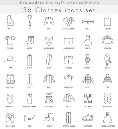 衣類及び履物をベクター web とアプリの超モダンな輪郭線のアイコン