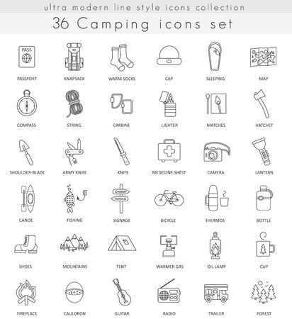 ベクトル キャンプ超モダンなアウトライン線 web とアプリのアイコン