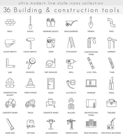 ultra modern: Vector Building and Construction ultra modern outline line icons for web and apps