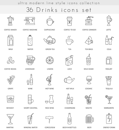 ultra modern: Vector Drinks ultra modern outline line icons for web and apps. Tea, coffee and alcohol