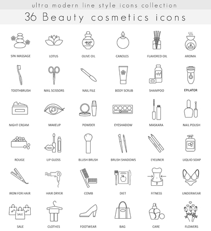 ultra modern: Vector Beauty and Cosmetics ultra modern outline line icons for web and apps