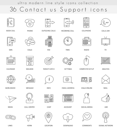 ultra modern: Vector Contact us Support ultra modern outline line icons for web and apps Illustration