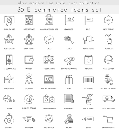 Vector e-commerce ultra modern outline line icons for web and apps  イラスト・ベクター素材