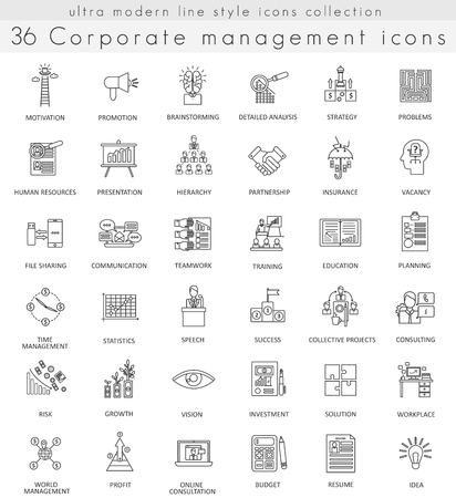 ultra modern: Vector Corporate managment ultra modern outline line icons for web and apps Illustration