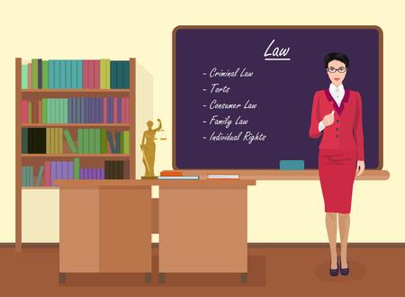 female judge: School Law female teacher in audience class concept. Vector illustration