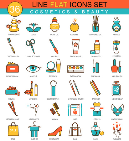 beauty icon: Vector Beauty and cosmetics flat line icon set. Modern elegant style design  for web