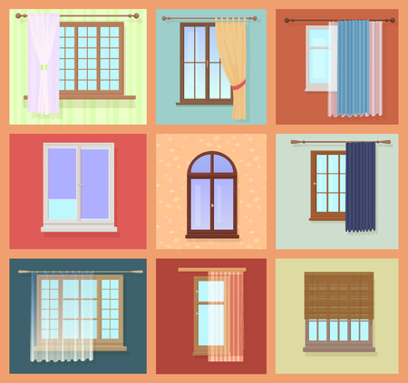 interior design: Set of high quality various Vintage Windows with curtains. Vector illustration.