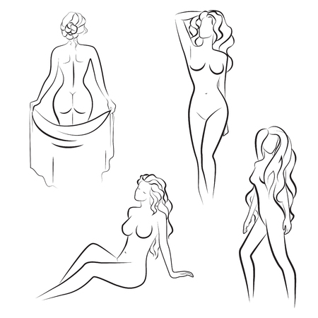 perfect female body: Beautiful line drawing Silhouettes of nude woman. Vector illustration Illustration