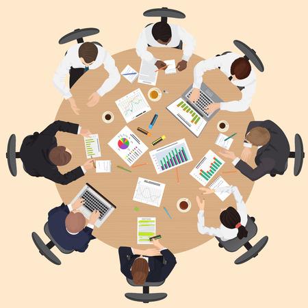 Großunternehmen Management Teamwork Treffen und Konzept mit den Menschen auf dem runden Tisch in der oberen Sicht Brainstorming