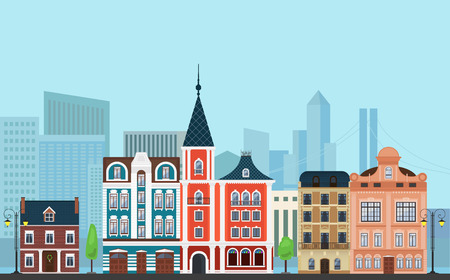 old buildings: Vector Urban landscape illustration. Old buildings with modern  skyscrapers in the background Illustration
