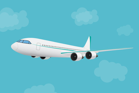 airplane wing: Airplane flying in the blue sky background. Illustration