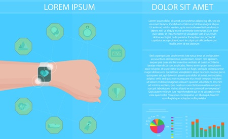 physical activity: Smartwatch fitness tracker concept with icons of healthy, fitness, lifestyle and physical activity Illustration