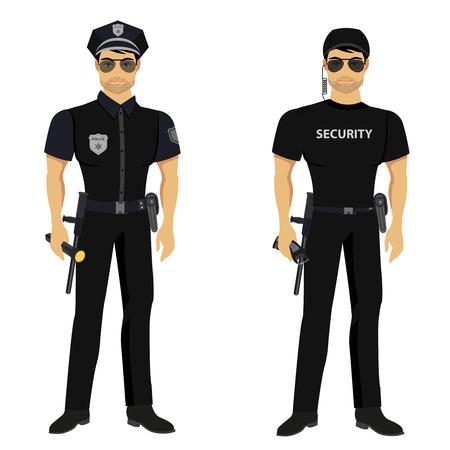 Sicurezza e guardie della polizia isolato sullo sfondo bianco.
