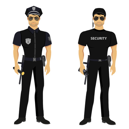 protect safety: Security and Police guards isolated in the white background. Illustration