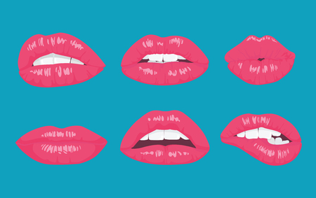 lips smile: High detailed glossy lips and mouth vector illustration. Open, close up on the bright background