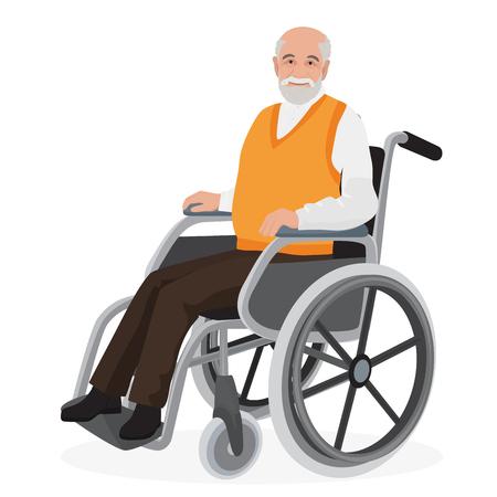 Oude man grootvader uitgeschakeld in rolstoel op wit wordt geïsoleerd