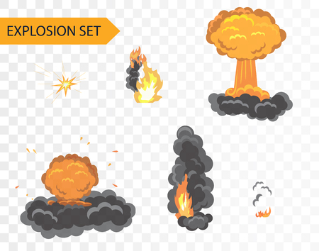 bomb explosion: Explode animation effect. Vector cartoon explosion set on alpha background