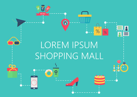 fashion shopping: Shopping mall map concept vector. City shopping trade center, boutique gallery indoor store. Interactive navigation icons infographic