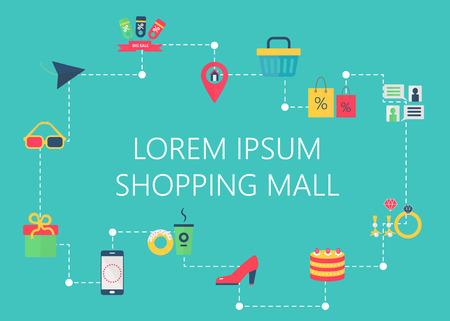 shopping center interior: Shopping mall map concept vector. City shopping trade center, boutique gallery indoor store. Interactive navigation icons infographic