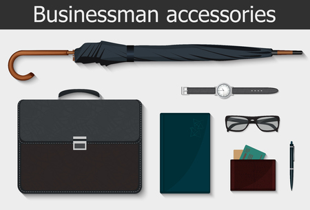 businessman shoes: Businessman stuff and accessories icons set. Vector illustration