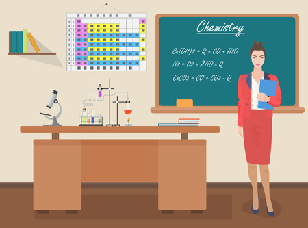 science class: School Chemical female teacher in audience class concept. Students and teachers science and education knowledge vector illustration. Illustration