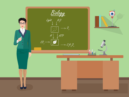 science class: School Biology woman teacher in audience class concept. Students and teachers science and education knowledge vector illustration.