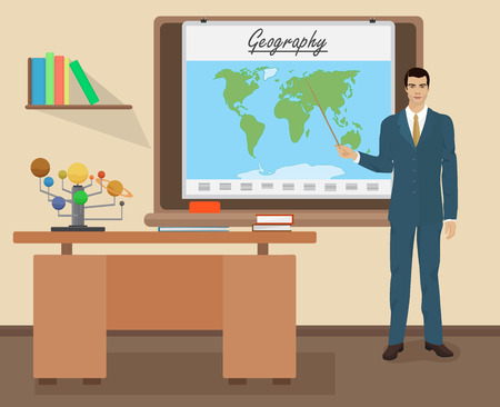 geography: School Geography male teacher in audience class concept. Students and teachers science and education knowledge vector illustration Illustration