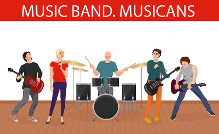 musico: Ilustración del vector de la banda de músicos de música. Grupo de jóvenes músicos de rock Vectores