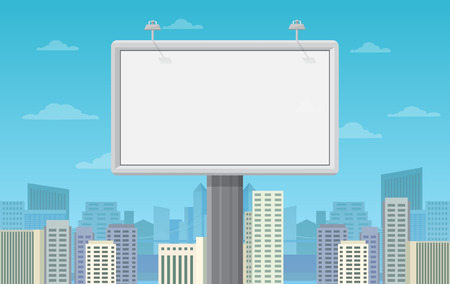 Big blank billboard in cityscape background shape. Vector illustration