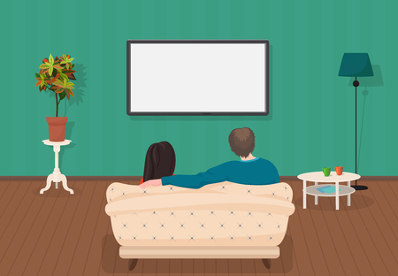 Young family man and women watching TV program together in the living room. Vector illustration Stock Illustratie