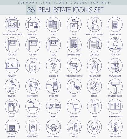 valuation: Vector Real Estates outline icon set. Elegant thin line style design