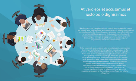 point of view: Business management teamwork meeting and brainstorming concept. Round table in top point of view Illustration