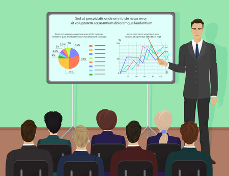 Businessman expert giving presentation seminar training. Conference with people concept