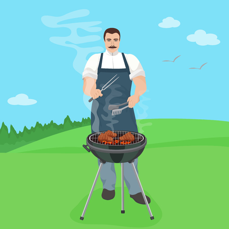 preparing: Man male cook preparing meal on the grill. Barbecue in nature illustration