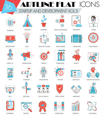 ultra modern: Vector Startup and development ultra modern outline artline flat line icons for web and apps Illustration