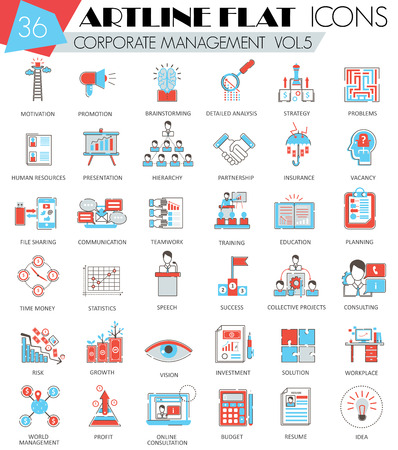 managment: Vector Corporate managment ultra modern outline artline flat line icons for web and apps Illustration