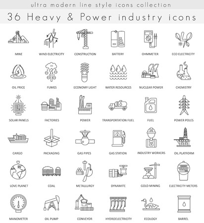 ultra modern: Vector heavy and power industry ultra modern outline line icons for web and apps