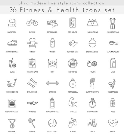 ultra modern: Vector fitness and health ultra modern outline line icons for web and apps Illustration