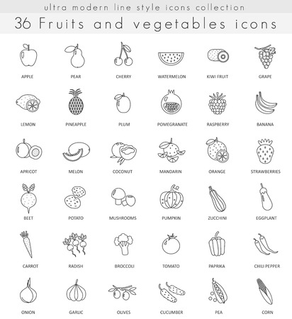 ultra modern: Vector fruits and vegetables ultra modern outline line icons for web and apps