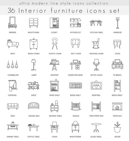 ultra modern: Vector Furniture ultra modern outline line icons for web and apps